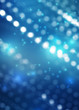 Blurred festive abstract background. Blurry bokeh lights, snowflakes, neon glow