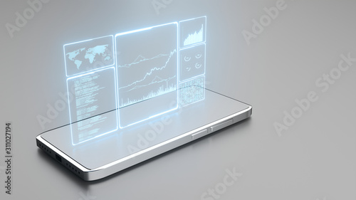 Photo 3D Rendering of glowing led blue color of business information data on high tech glass panel on chromium 5g mobile phone