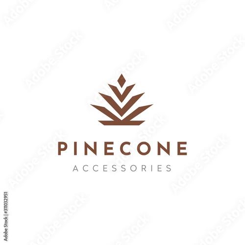 Pine conifer cone, pineapple leaves crown, aloe vera, agave luxury elegant logo Wallpaper Mural