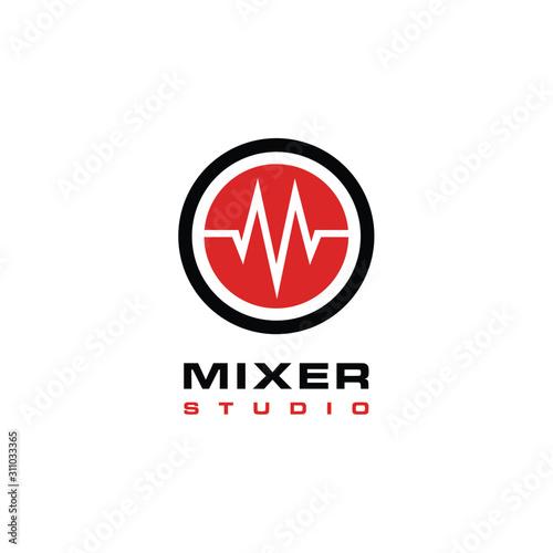 Sound waveform with initial M logo design Canvas Print