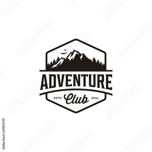 Fototapeta Vintage Badge of Mountain Adventure Travel, Forest Hill Camp logo design obraz