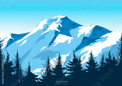 Wild mountain landscape illustration design Wallpaper Mural