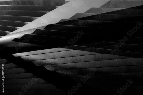 Double exposure photo of metal girders, lath or grid structure Canvas Print