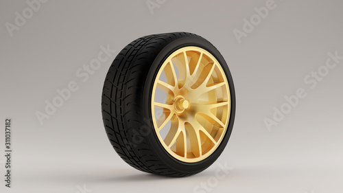 Photo Black an Gold Alloy Rim Wheel with a Closed Retro Wheel Design with Racing Tyre
