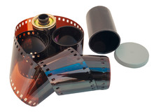 Curling 35mm Film With Film Ca...