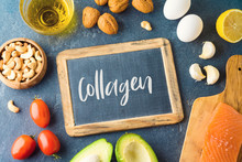 Food Rich In Collagen Concept. Healthy Eating And Dieting With Salmon Fish, Avocado, Eggs And Nuts.