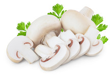 Fresh Mushrooms Champignon And Slices Isolated On White Background With Clipping Path