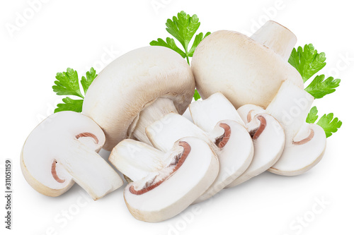 Fototapeta Fresh mushrooms champignon and slices isolated on white background with clipping path obraz