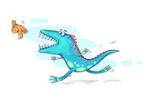 Fototapeta Dinusie - Monster or dinosaur catching a bird, funny cartoon illustration