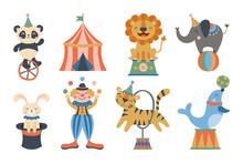 Cute Circus Animals And Clown ...