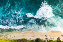 View From Above, Stunning Aerial View Of A Rocky Shore With A Beautiful Beach Bathed By A Rough Sea During Sunset, Nyang Nyang Beach (Pantai Nyang Nyang), South Bali, Indonesia.