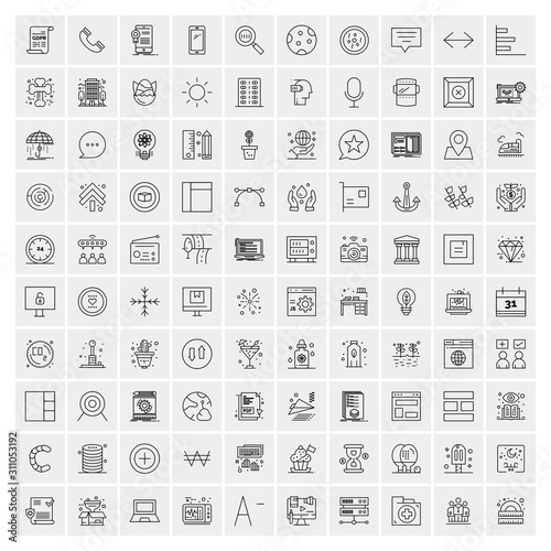 Fototapeta Pack of 100 Universal Line Icons for Mobile and Web obraz na płótnie