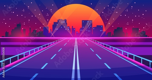 Night city road. Futuristic highway with neon lights and buildings, city of future urban landscape. Vector illustration downtown cartoon scene futurist view modern illuminations road