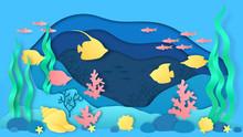 Paper Cut Underwater. Aquarium...