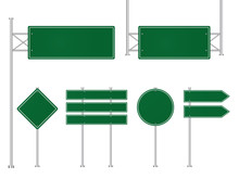 Set Of Green Road Traffic Signs. Direction Plate For Street. Blank Signboard, Signage Forhighway, Information Panel. Template Road Sign, Signpost Of Location. Mockup Signboard. Design Vector