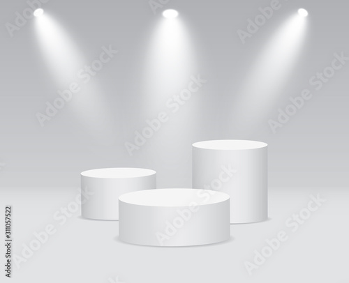 Wallpaper Mural White 3d round podium with light and lamp