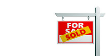 Sold For Sale Sign Isolated Against White Background, Real Estate Concept, Copy Space. 3d Illustration