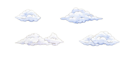 Cartoon clouds watercolor illustration set. Hand drawn fluffy cloud image collection. Four cloud shapes isolated on white background.