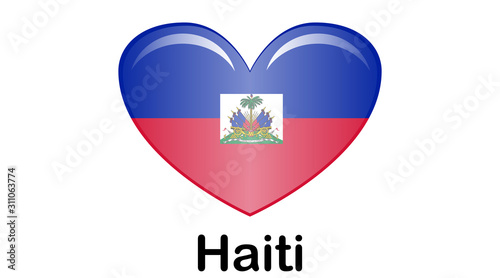 Valokuva Flag of Republic of Haiti and formerly called Hayti is a country located on the island of Hispaniola, east of Cuba in the Greater Antilles archipelago of the Caribbean Sea