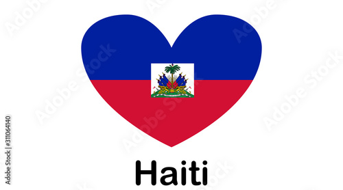 Canvas-taulu Flag of Republic of Haiti and formerly called Hayti is a country located on the island of Hispaniola, east of Cuba in the Greater Antilles archipelago of the Caribbean Sea