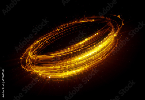 Fototapety, obrazy: Glow swirl light effect. Circular lens flare. Abstract rotational lines. Power energy element. Luminous sci-fi. Shining neon lights cosmic abstract frame. Magic round frame. Swirl trail effect. Glint