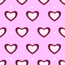 Light Pink With Dark Red Hearts And White Spots On Pink Background. Seamless Nice Pattern For Valentine Day. Suitable For Packaging, Wallpaper.