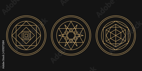 Alchemy isolated vector icon set Wallpaper Mural