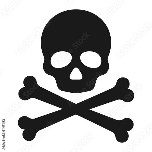 Obraz Roger symbol. Pirate scull icon. Vector illustration. - fototapety do salonu