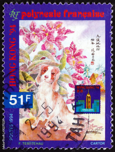 Fotografia  Postage stamp French Polynesia 1994 Dog, Year of the Dog
