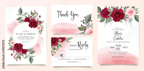 Beautiful wedding invitation card template set with burgundy and peach rose flowers and watercolor background Tablou Canvas