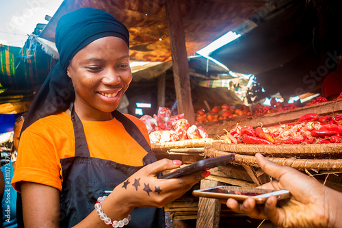 young african woman selling tomatoes in a local african market receiving payment Canvas Print