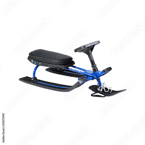 blue snow scooter on white background