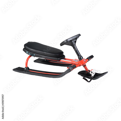 red snow scooter on white background