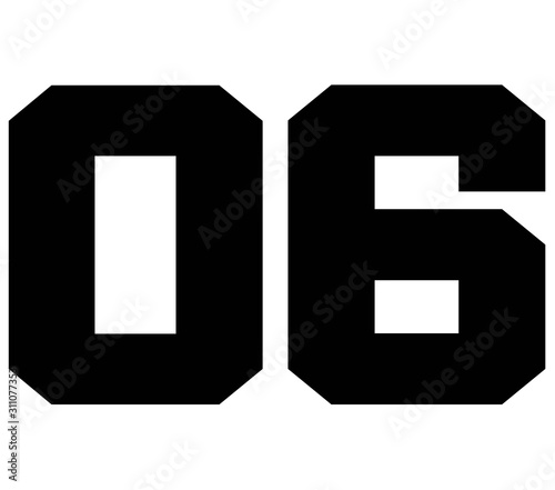 Photo 06,Classic Vintage Sport Jersey Number, Uniform numbers in black as fat fonts, number