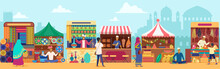 Asian Street Market Flat Vector Illustration. People Shopping At Local Marketplace. Cartoon Vendors Selling Fresh Food And Home Interior Items. Sellers At Counters. Indian City Temples Background