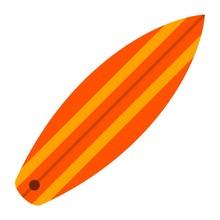 Orange Surfboard Vector Icon F...