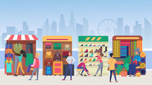 Street Clothing Market Flat Vector Illustration. People Buying Apparel And Accessories At Outdoor Marketplace In Modern City. Vendors And Customers. Salesmen At Stands. Megapolis View Background