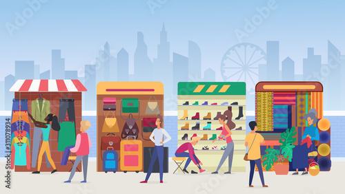 Cuadros en Lienzo Street clothing market flat vector illustration