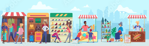 Obraz na plátně Street clothing and food market flat vector illustration