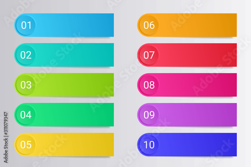 Colorful bullet points with paper stickers and copy space isolated on grey background Canvas Print