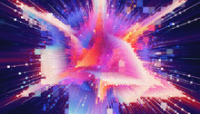 HUD  Matrix Particles Grid. Virtual Reality. Grid Core. Magic Explosion Star With Particles. Acceleration Race. Glow Lines. Colorful Flash. Big Bang. Light Trails. Glitch Effect. Deep Space.