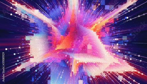 Fotografie, Obraz HUD  Matrix particles grid