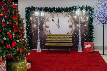 Christmas and new year decorations with lights and Christmas tree in the background. new year concert and background.
