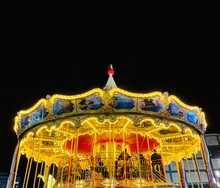 Carousel With Horses In Night