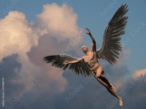 Naked man with white wings in cloudy sky symbolizes angel. Canvas Print
