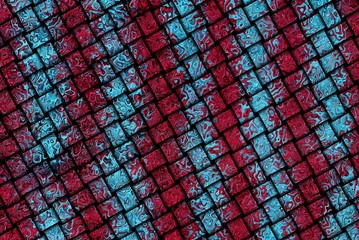illustration of red blue striped texture on wicker fabric