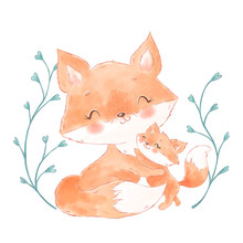 Cute Watercolor Foxes. Mother ...