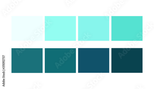 Cyan, sea color  Squares Set catalog for graphic arts Canvas Print