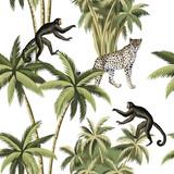 Tropikalnego rocznika botaniczny drzewko palmowe, lampart i małpy kwiecistej zieleni bezszwowy deseniowy biały tło. Tapeta egzotycznej dżungli. - 311094799