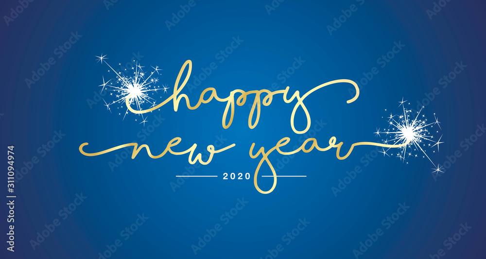 Happy New Year 2020 handwritten lettering tipography sparkle firework gold white blue background greeting card